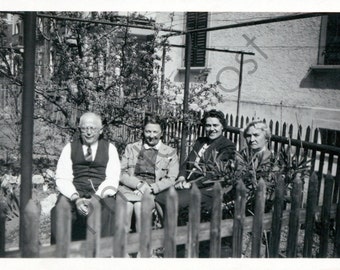 Vintage Snapshot - 1940's 1950's - Four People, Pickett Fence, Frowning Lady, Sunny Weather, Backyard