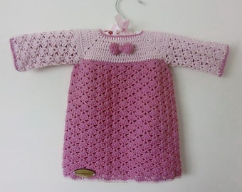 Crochet Pink Bow Dress - 0/6 months
