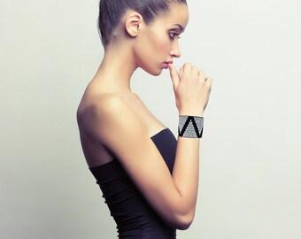 Cuff Bracelet - Black Suede with Diamante Triangles