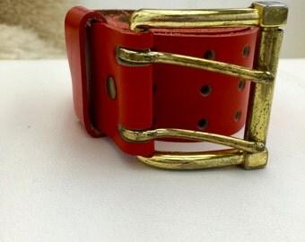 Leather Orange Classic Belt