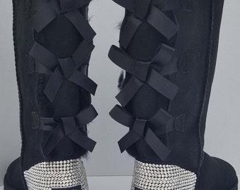 UGG'S Tall Bailey Bow W/Swarovski Crystals - Black