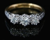 Antique Edwardian Diamond Trilogy Ring  Three Stone Diamond Circa 1915