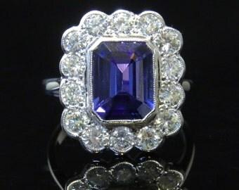 Fabulous 4ct Tanzanite & 1.50ct Old Cut Diamond 18ct Ring
