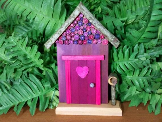 Purple fairy door with wooden heart cross cut by for Purple fairy door