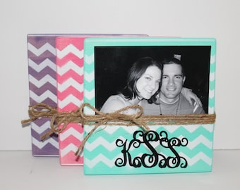 3 Chevron Picture Frames, Personalized Photo Block, Bridesmaid Gifts