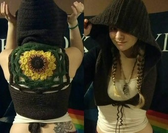Gypsy Hippie Crochet Vest // Festival Clothing /Chocolate Sunflower Pixie Hooded Crochet Vest with love in every stitch<3