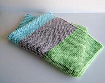 Boy/Neutral Handknit Baby Blanket