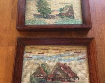 Pair of Needlepoint Framed Art Vintage