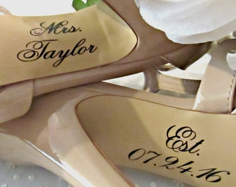 Personalized Bride Wedding Shoe Decal Name And Date Sticker Groom Decorations