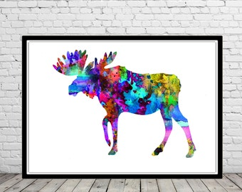 Moose,Moose print, watercolor print, animal painting, watercolor painting, moose art , animal art (616b)
