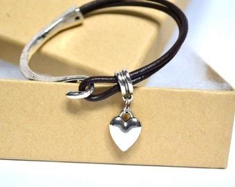 Dark Brown Double Strand Leather Bracelet/Antique Silver Hook Clasp/Antique Silver Charm/Women's Bracelet