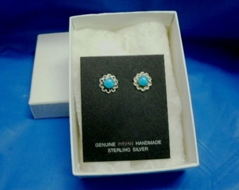 Turquoise and Sterling Silver Native American .925 Stud Post Earrings