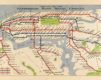 Routes of the Interborough Rapid Transit Company, Manhattan, New York city subway system 1924. Vintage reproduction map.