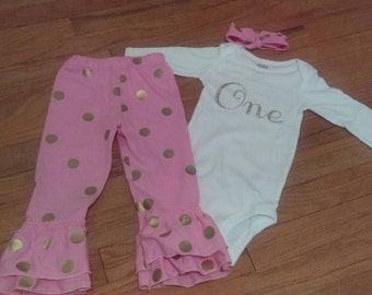 "Girl 3 Piece Outfit, Onesie or T-shirt ""One"" ""Two"" ""Three"" ""Four""""Five"" Birthday, Knotted Headband, Gold, Pink, Polka Dot"