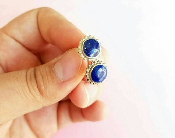 Lapis Stud Earrings, wedding studs,Lapis Lazuli Stud Earrings, minimalist lapis studs, Lapis Earrings, Stud Earrings, lapis lazuli jewellery