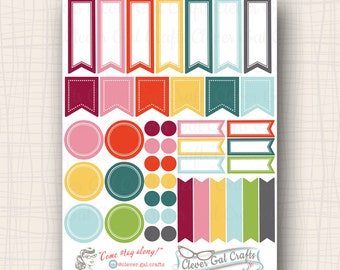 Functional Planner Stickers   Sensible Shapes Sampler   Marilyn Palette   45 Stickers Total   #SS08MARILYN