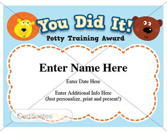 Potty Training certificate, kids certificates, child certificate, pre-school award, pre-school certificate, Potty training award,