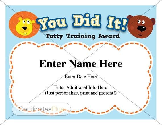 Toy Story Potty Training Certificate : Potty training certificate kids certificates child
