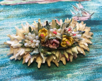 Floral Brooch/Pin Made From Shark's Teeth and Sea Shells