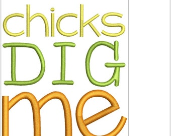 Machine Embroidery Design Mini Easter Lettering Chicks Dig Me (16136)