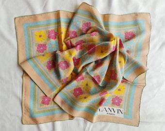 Silk chiffon scarf Lanvin vintage 76 x 76 cm