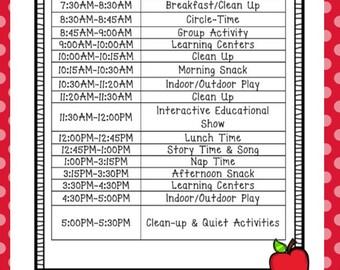 Daily Schedule/Custom Schedule