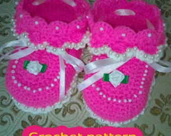 Crochet pattern for baby booties. Instant download. 2 tutorials in one!