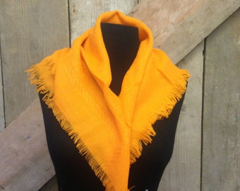 1970's Vintage Orange Knitted Acrylic Scarf - Perfect condition with tags