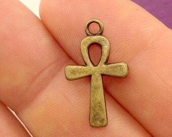 Holy Cross Charm. 4 pcs Antique Bronze Tone Christian Cross Charms 22x13mm. Holy Cross Pendant. Religious Charm. Cross Charm. - (4 - 0055C)