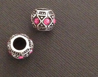 European beads. 2pc Antique Silver Plated Crystal Rhinestone PINK European beads 9x11mm. Big Hole Euro beads. Rhinestone Bead - (2 - 0076E)