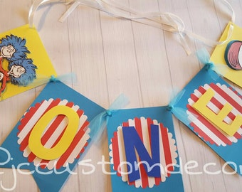 Thing 1 Thing 2 Theme Birthday Banner-One Banner-Cat In The Hat Banner-Thing 1 Thing 2 Birthday Banner/Dr Seuss Banner-Dr Seuss One Banner