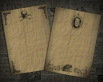 Edgar Allan Poe Gothic Stationary Note Cards Digital Download