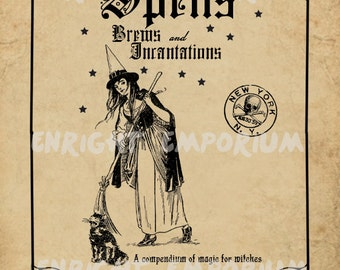 Witchy Spell Book Cover Digital Download