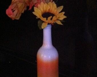Candy corn wine bottle vase