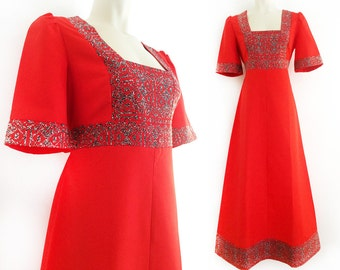 Gorgeous vintage Arola maxi dress in bright red with detailed embroidery, size M / Medium