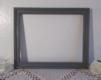 Gray Picture Frame Up Cycled Vintage Wood 11 x 14 Grey Photo Decoration Rustic Shabby Chic Beach Cottage Coastal Seaside Wedding Home Decor