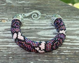 Rose bracelet Spring bracelet Flower bracelet Rose jewelry Purple rose Flower bracelet Floral bracelet Charm bracelet Romantic bracelet