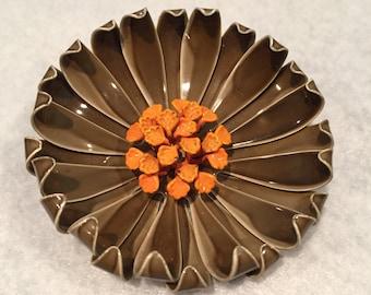 Cut Metal Enameled Flower Pin - CA 1950's - Pin135