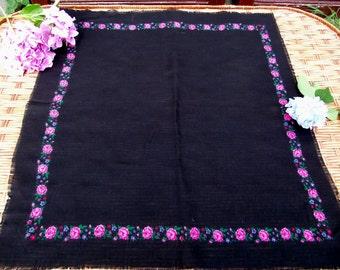 Soviet black Shawl Vintage Ukrainian Romanian shawl  Old shawl  100 % wool scarf Made in Japan romanian style women