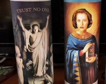 X-Files | Mulder & Scully | Religious Prayer Candles | Nerdy Gift | Sci-Fri | Pop Art | Valentine's Gift