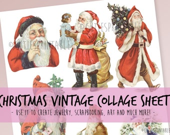 Retro Christmas Collage Sheet - INSTANT DOWNLOAD - scrapbooking craft - Santa Claus - Vintage Christmas isolated on white background