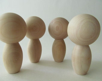 Kokeshi - Peg dolls - Unfinished, unpainted, DIY wooden dolls - Ready to Paint - Lot of 4 - Kokeshi dolls with oblong bodies