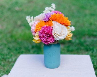 Colorful Floral Arrangement in Hand Painted Blue Mason Jar - Artificial Floral Arrangement