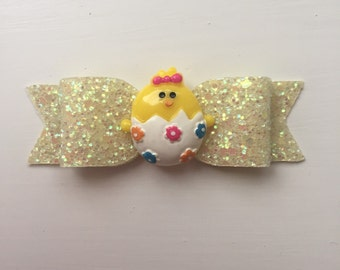 Easter Chick Glitter Hair Bow