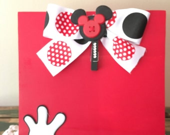 Mickey Mouse Disney inspired photo holder, 4x6 photo, clothespin holder, recipe holder, note holder, Mickey Mouse Hands, Red