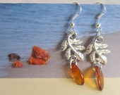 100% Natural Baltic Amber Leafs Earrings Silver plated cognac transparent beads free shape souvenir gift present  Bernstein Ohrringe