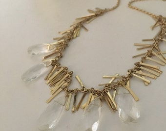 Crystal drop necklace with brass chain