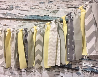 Gray and Yellow Fabric Banner - Gender Neutral, Baby Shower, Nursery, Fabric Garland, Bunting