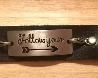 Follow your arrow black leather cuff
