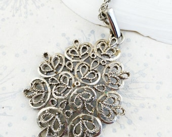 Modernist Pendant -  Gift for Her - Abstract Pendant - Vintage Pendant - Silver Tone Pendant - Festival Necklace - Baroque Pendant